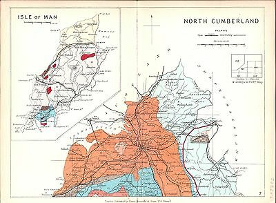 Antique map, Isle of Man, North Cumberland