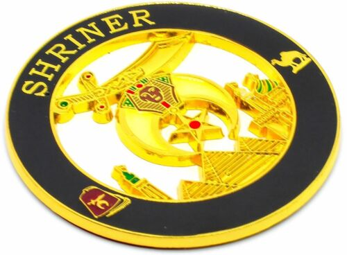 "FREEMASON Masonic Shriners MASON Auto Car Emblem 3"" Die Cut Enamel DMCE18"