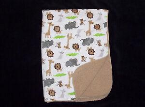 Carters Just One You Elephant Monkey Giraffe Kangaroo Baby Blanket Tan Sherpa