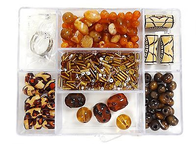 - Brown DIY Jewelry Craft Variety Beads Animal Print kit bead box 700 pcs+