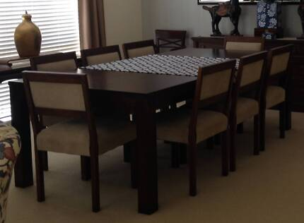 GORGEOUS Coco Republic Dining Table 8 Chairs Fabric Upholstered