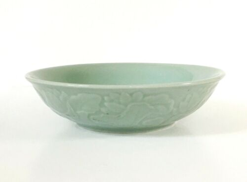 Lovely Celadon Bowl with Embossed Lotus Flowers, Asian Design, 9 1/4 D x 2 1/2 T
