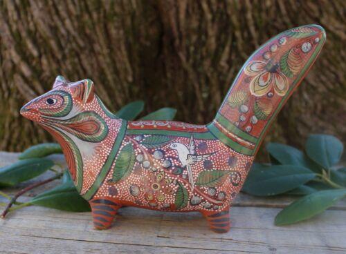 Ferret Squirrel & Birds Handmade & Hand Painted Tonalá Pottery Mexican Folk Art