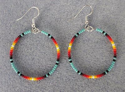 "Turquoise Sunburst Beaded Silver Hoop Earrings 1.5"" ~Native American Made- Rita"