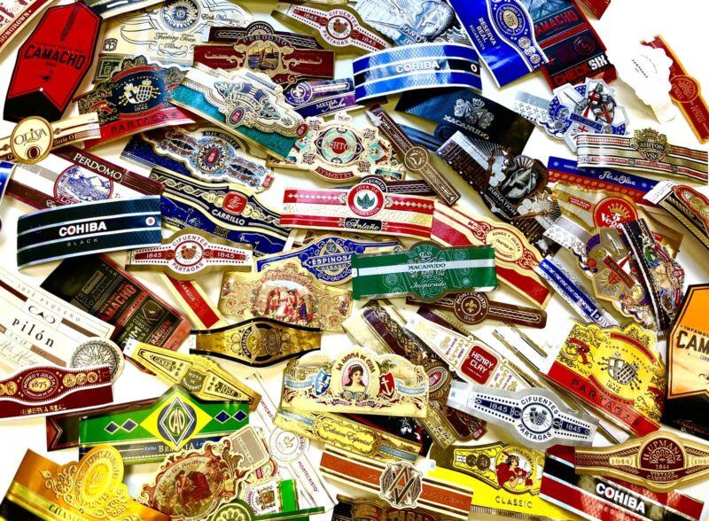 Set of 50 Assorted Cigar Bands, including Cohiba & Montecristo