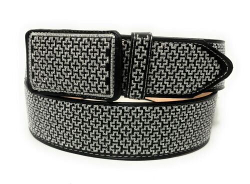 Cinto  Charro Bordado Hilo Plateado. Mens Western Black Vaquero Leather Belt