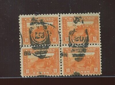 Scott 404 Panama-Pacific Perf 10 USED Block of 4 Stamps (Stock 404-A1)