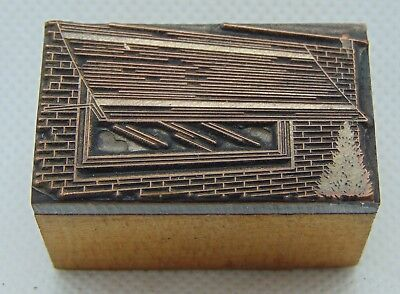 Vintage Printing Letterpress Printers Block Window With Awning Little Tree