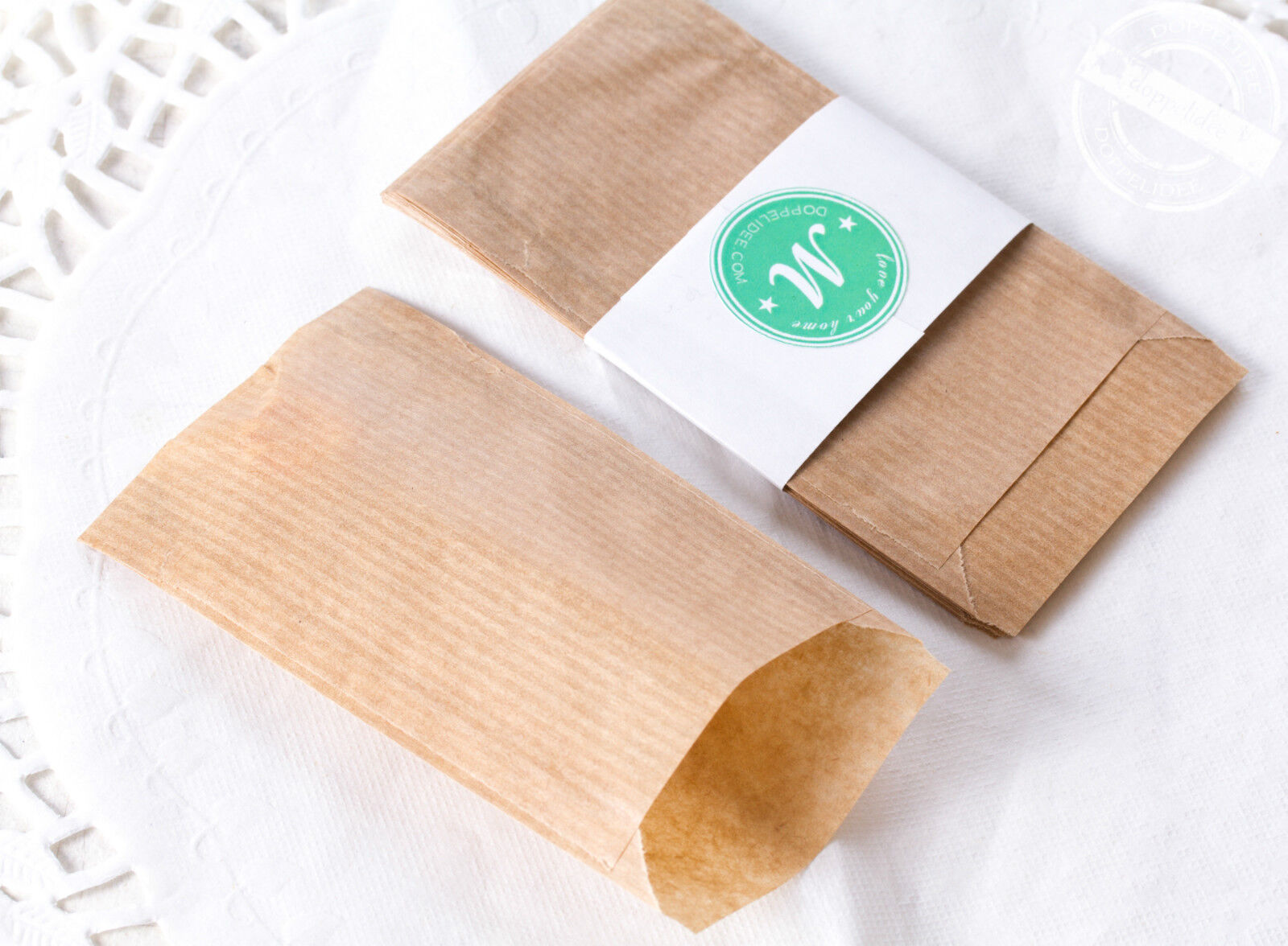 20 mini Kraftpapier FLACHBEUTEL Geschenktüten Papiertüten Papier Tüten Tütchen