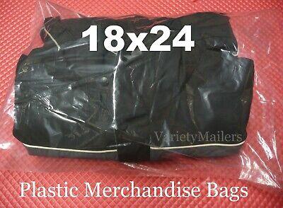 10 Large 18x24 Clear Flat Plastic Clothing Merchandise Bags 1.5 Mil Quality