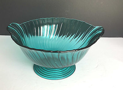 Vintage Jeannette Petal Swirl Ultramarine Footed Salad Bowl Closed Handles