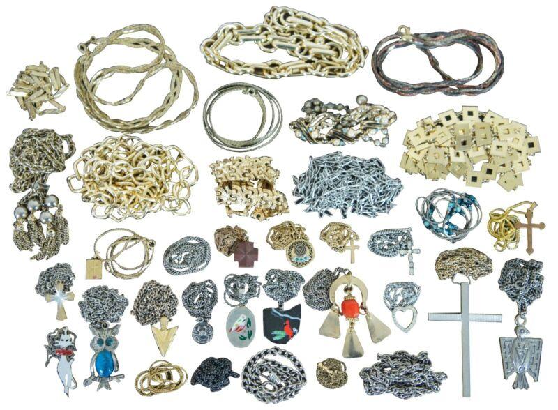 Lot of 35 Metal Mesh Pendant Necklaces Crosses Chains Vintage Modern Animals