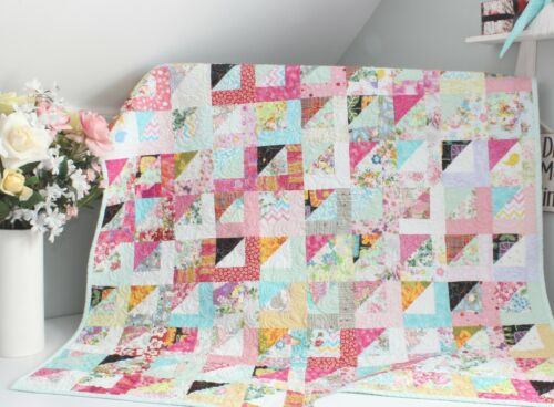 SCRAPPY HALF SQUARES ~ New Handmade Baby Girl Quilt