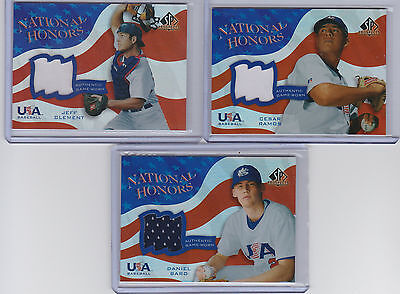 2004 Upper Deck SP Prospects - (3) Card USA Jersey Patch Lot -BARD,RAMOS,CLEMENT