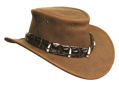 Australian Style Dundee Lederhut mit echtem Krokodil- Hutband und Zähnen braun S