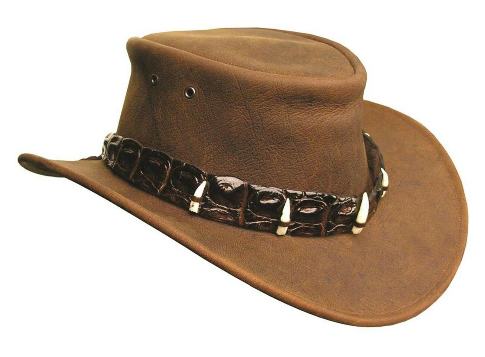 Kakadu Traders Dundee Lederhut mit echtem Krokodil- Hutband und Zähnen braun S