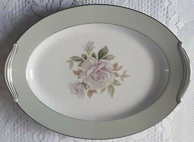 Noritake China Japan 5321Cascade Green Edge White Rose Oval Serving Platter 16in Japan China White Rose