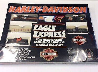 Harley Davidson 90Th Anniversary Commemorative H O  Electric Train Eagle Express
