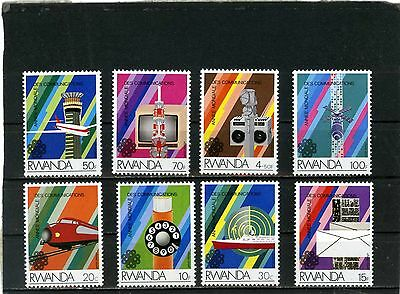 RWANDA 1984 Sc#1175-1182 WORLD COMMUNICATIONS YEAR SET OF 8 STAMPS MNH