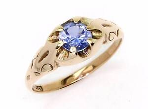 9ct Rose Gold Blue Stone Vintage Gypsy Ring - Size T Perth Perth City Area Preview