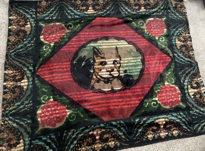 Rare Antique CHASE Horsehair Carriage Robe Blanket DOG Glass Eye