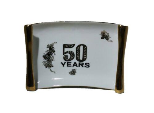 Vintage Golden 50th Anniversary Wall Plate Trinket Dish Viletta