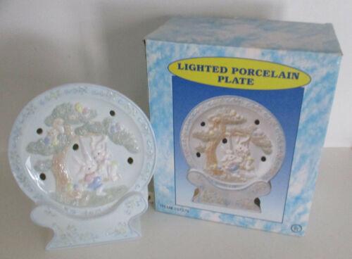 Cracker Barrel Easter Porcelain Lighted Plate with Box HTF Night Light