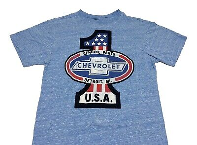 Blue Chevrolet Chevy Genuine Parts Number 1 Officially Licensed Shirt Mens  100% Cotton Part Number