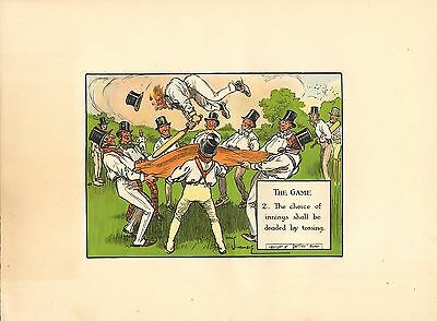 1905 laws of cricket  original colour print -  the game  !