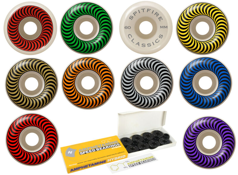 Spitfire Skateboard Wheels with Hybrid Ceramic Bearings Classics White 99A