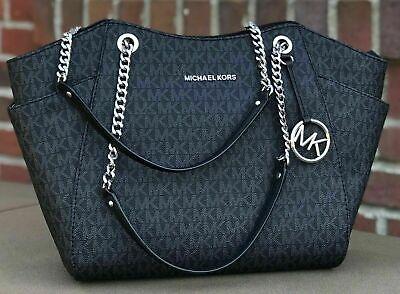 New Michael Kors Jet Set Travel Chain Black MK Signature Lightweight  Tote Bag