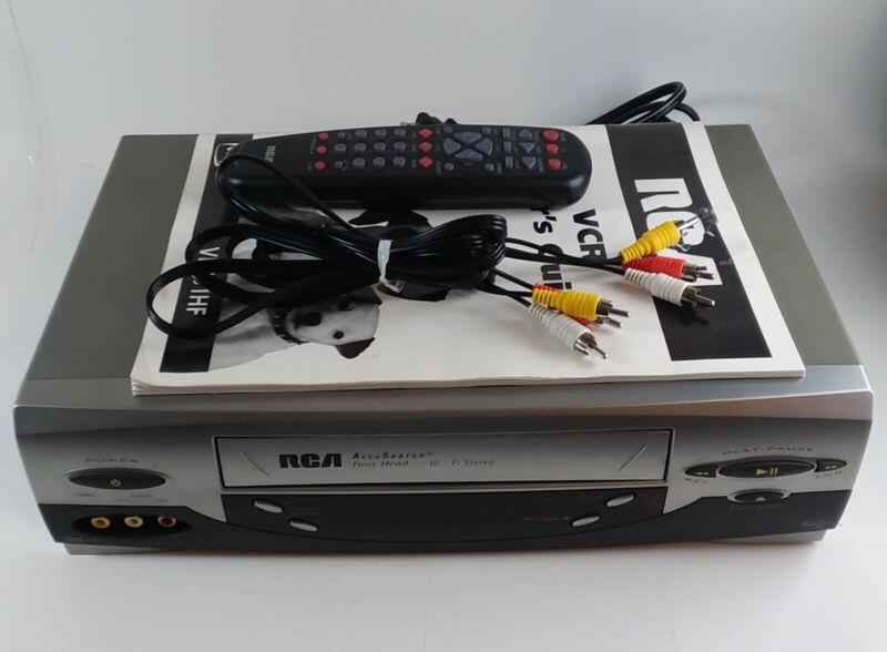 RCA VR651HF HI-Fi Stereo VHS VCR Video Cassette Player w/ Remote Control & Guide