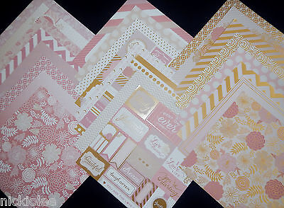 12X12 Scrapbook Paper Cardstock Blush Glam Pink Girl Gold Love Pretty Floral 24 (Gold Card Stock)