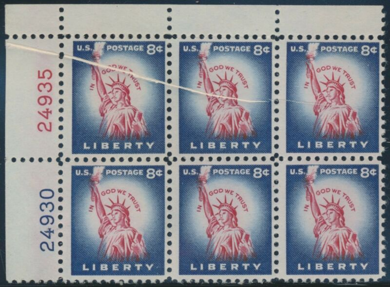 """#1041b Var. """"liberty"""" Plate Block Of 6 With Pre-print Paper Fold Error Br5884"""