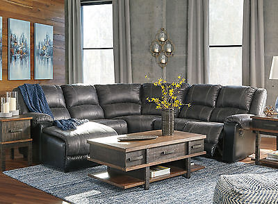 Living Family Room Sectional  - Gray Faux Leather Reclining Sofa Couch Set IF14 ()