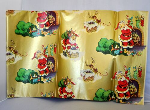 VTG 1950S SANTA W RUDOLPH XMAS GIFT WRAPPING PAPER, SOFT GOLD BACKGROUND 20 X 30