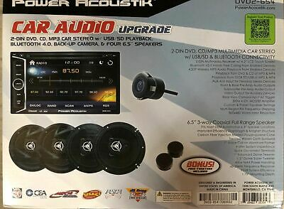 """Power Acoustik DVD2-654 2 DIN CD/DVD Player 4x 6.5"""" Speakers Camera 2x Tweeters"""