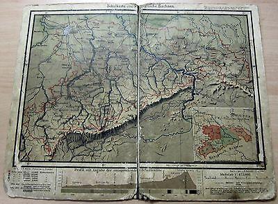 Schul Landkarte vom Königreich Sachsen (Deutsches Reich) von ca. 1910-1920