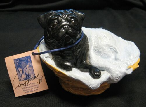"""RON HEVENER BLACK """"PUG IN A BLANKET"""" LIMITED EDITION 1998- 054/1000 SIGNED- MINT"""