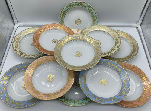ANTIQUE PLATES SET 12 RAISED GOLD HAND PAINTED BLUE/TURQUOISE/CORAL RIM EUROPEAN