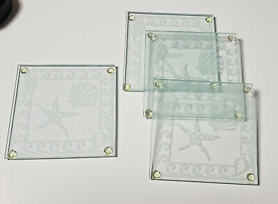 Kate Aspen Shell and Starfish Etched Coaster *NEW* Set of 4