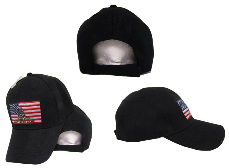 Gadsden Don/'t Tread On Me Black With White Outline Embroidered Hat Cap RUF
