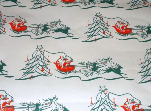 VTG CHRISTMAS WRAPPING PAPER GIFT WRAP 1950 SANTA SLEIGH REINDEER TREE NOS