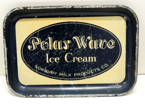 scarce POLAR WAVE Ice Cream Serving TRAY Antique SUNBURY Milk Products PA Sign
