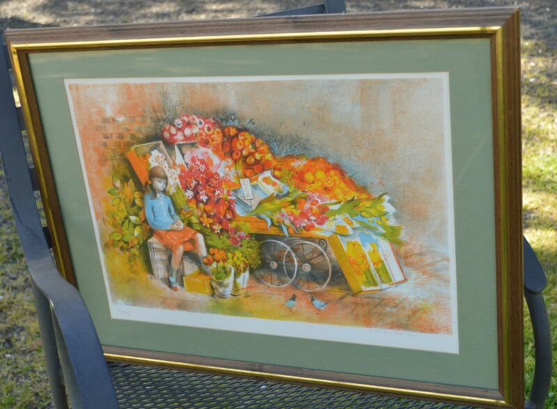 Hilda Chancellor-Pope Paris Scene Framed Limited Ed  Print  Signed  No. 3/275