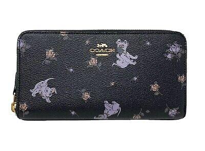 Coach x Disney - Dalmatian Pups Floral Accordion ZIp Wallet (Black Multi) 91743