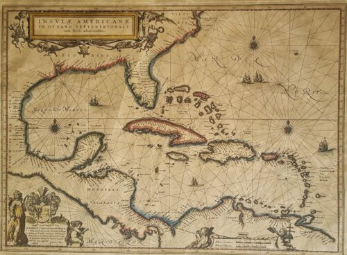 Antique. Map. Insvlae Americanae in Oceano Septentent. Map by D