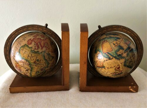 Collectable Vintage Wooden Spinning Globe Book Ends Zona Temp Settent Italy