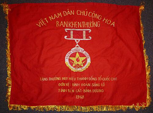 BEN CAT - 1968 VIET CONG WAR BANNER / FLAG - VC - NLF - TET - Vietnam War - 4125