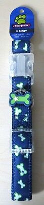 "TOP PAW Dog Collar X-LARGE 22""-26"" Blue With White/Green Bones - FREE SHIPPING"